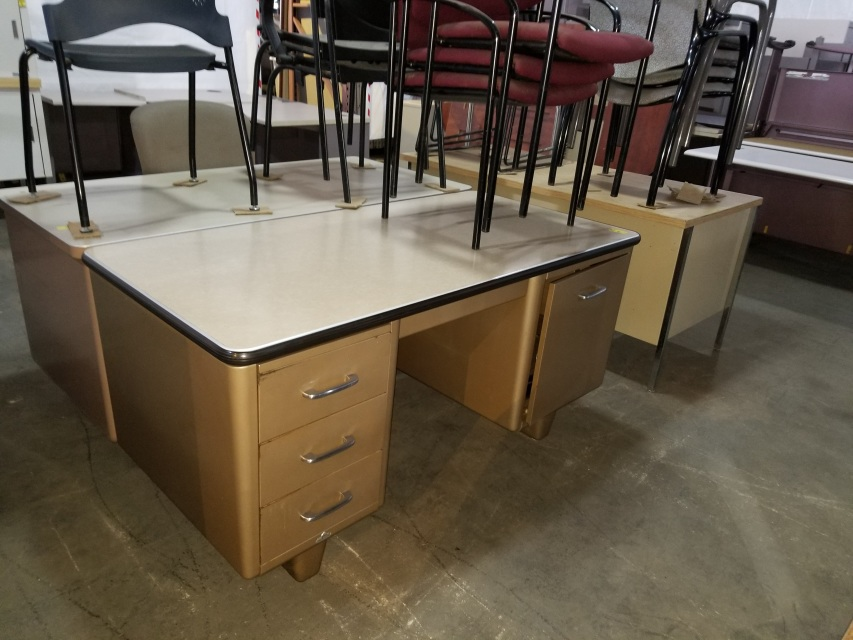 Old Style Tanker Desk With Typewriter Cabinet